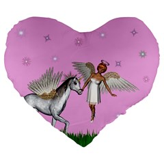 Unicorn And Fairy In A Grass Field And Sparkles 19  Premium Heart Shape Cushion by goldenjackal