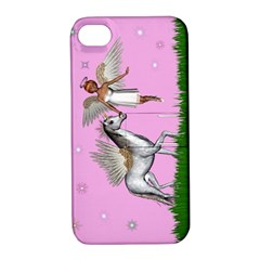 With A Unicorn And Fairy In A Grass Field And Sparkles Apple Iphone 4/4s Hardshell Case With Stand by goldenjackal