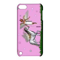 Unicorn And Fairy In A Grass Field And Sparkles Apple Ipod Touch 5 Hardshell Case With Stand by goldenjackal