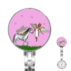 Unicorn And Fairy In A Grass Field And Sparkles Stainless Steel Nurses Watch by goldenjackal