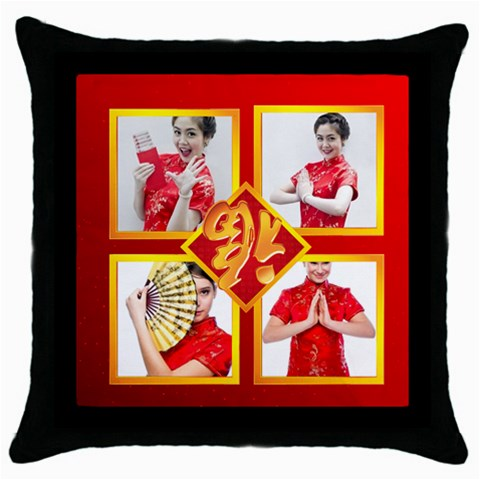 Chinese New Year By Ch   Throw Pillow Case (black)   Xn8t1ya3vjj4   Www Artscow Com Front