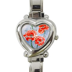 Poppies Heart Italian Charm Watch  by ArtByThree