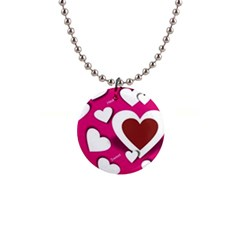 Valentine Hearts  Button Necklace by Colorfulart23