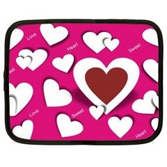 Valentine Hearts  Netbook Sleeve (xl) by Colorfulart23