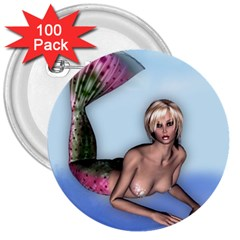 Mermaid On The Beach 3  Button (100 Pack) by goldenjackal