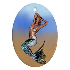 Sexy Mermaid On Beach Oval Ornament by goldenjackal