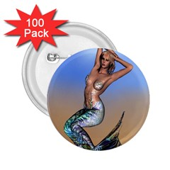 Sexy Mermaid On Beach 2 25  Button (100 Pack) by goldenjackal
