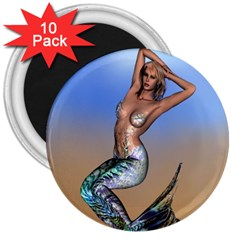 Sexy Mermaid On Beach 3  Button Magnet (10 Pack) by goldenjackal