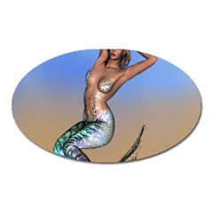 Sexy Mermaid On Beach Magnet (oval) by goldenjackal