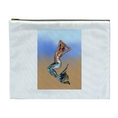 Sexy Mermaid On Beach Cosmetic Bag (xl) by goldenjackal