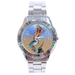Sexy Mermaid On Beach Stainless Steel Watch by goldenjackal