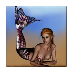 Mermaid On The Beach  Ceramic Tile by goldenjackal