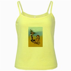 Mermaid On The Beach  Yellow Spaghetti Tank by goldenjackal
