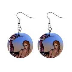Mermaid On The Beach  Mini Button Earrings by goldenjackal