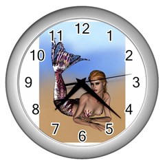 Mermaid On The Beach  Wall Clock (silver) by goldenjackal