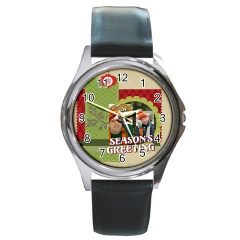 Xmas By Merry Christmas   Round Metal Watch   Xk39lt48z36j   Www Artscow Com Front
