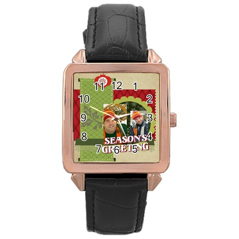Xmas By Merry Christmas   Rose Gold Leather Watch    Ta5sgwtkp83x   Www Artscow Com Front