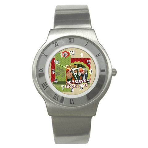 Xmas By Merry Christmas   Stainless Steel Watch   18y0sdnevor3   Www Artscow Com Front