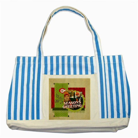 Xmas By Merry Christmas   Striped Blue Tote Bag   Qr9ctvo6t4jl   Www Artscow Com Front
