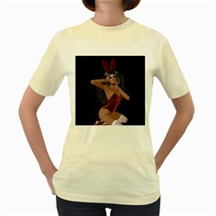 Miss Bunny In Red Lingerie Women s T Shirt (yellow) by goldenjackal