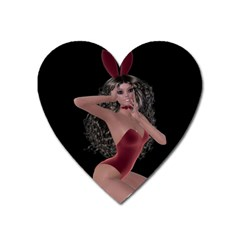 Miss Bunny In Red Lingerie Magnet (heart) by goldenjackal