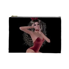 Miss Bunny In Red Lingerie Cosmetic Bag (large) by goldenjackal