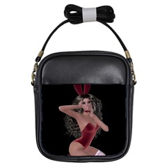 Miss Bunny In Red Lingerie Girl s Sling Bag by goldenjackal