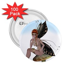 Fairy Sitting On A Mushroom 2 25  Button (100 Pack) by goldenjackal