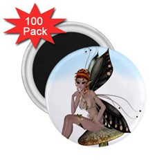 Fairy Sitting On A Mushroom 2 25  Button Magnet (100 Pack) by goldenjackal