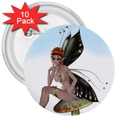 Fairy Sitting On A Mushroom 3  Button (10 Pack) by goldenjackal