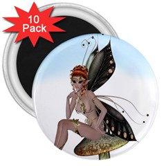 Fairy Sitting On A Mushroom 3  Button Magnet (10 Pack) by goldenjackal