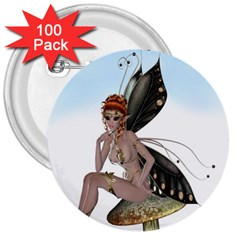 Fairy Sitting On A Mushroom 3  Button (100 Pack) by goldenjackal