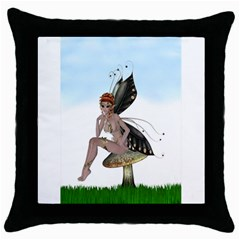 Fairy Sitting On A Mushroom Black Throw Pillow Case by goldenjackal