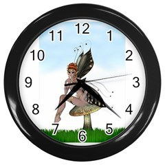 Fairy Sitting On A Mushroom Wall Clock (black) by goldenjackal