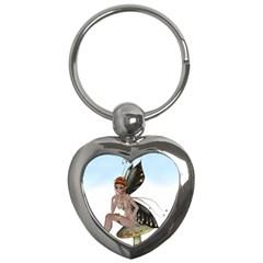 Fairy Sitting On A Mushroom Key Chain (heart) by goldenjackal