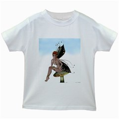 Fairy Sitting On A Mushroom Kids T Shirt (white) by goldenjackal
