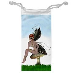 Fairy Sitting On A Mushroom Jewelry Bag by goldenjackal