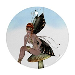 Fairy Sitting On A Mushroom Round Ornament (two Sides) by goldenjackal
