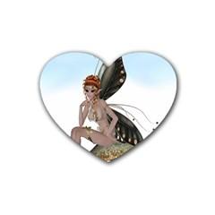 Fairy Sitting On A Mushroom Drink Coasters (heart) by goldenjackal