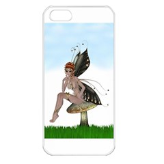 Fairy Sitting On A Mushroom Apple Iphone 5 Seamless Case (white) by goldenjackal