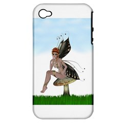Fairy Sitting On A Mushroom Apple Iphone 4/4s Hardshell Case (pc+silicone) by goldenjackal