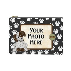 Puppy Cosmetic Bag By Lisa Minor   Cosmetic Bag (large)   Px6bw4bihmmb   Www Artscow Com Front
