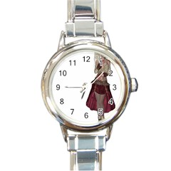 Steampunk Style Girl Wearing Red Dress Round Italian Charm Watch by goldenjackal