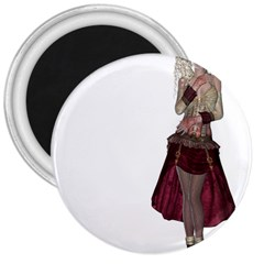 Steampunk Style Girl Wearing Red Dress 3  Button Magnet by goldenjackal