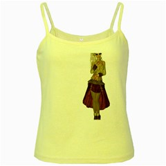Steampunk Style Girl Wearing Red Dress Yellow Spaghetti Tank by goldenjackal