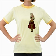 Steampunk Style Girl Wearing Red Dress Women s Ringer T Shirt (colored) by goldenjackal