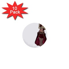 Steampunk Style Girl Wearing Red Dress 1  Mini Button (10 Pack) by goldenjackal