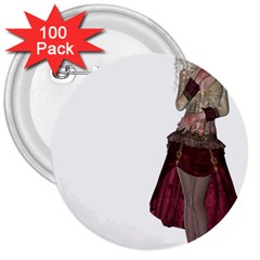 Steampunk Style Girl Wearing Red Dress 3  Button (100 Pack) by goldenjackal