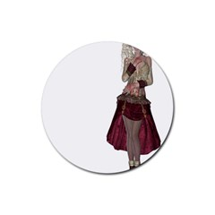 Steampunk Style Girl Wearing Red Dress Drink Coaster (round) by goldenjackal