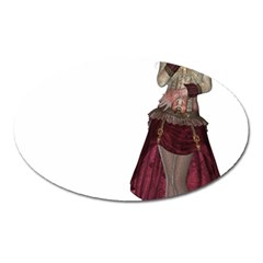 Steampunk Style Girl Wearing Red Dress Magnet (oval) by goldenjackal